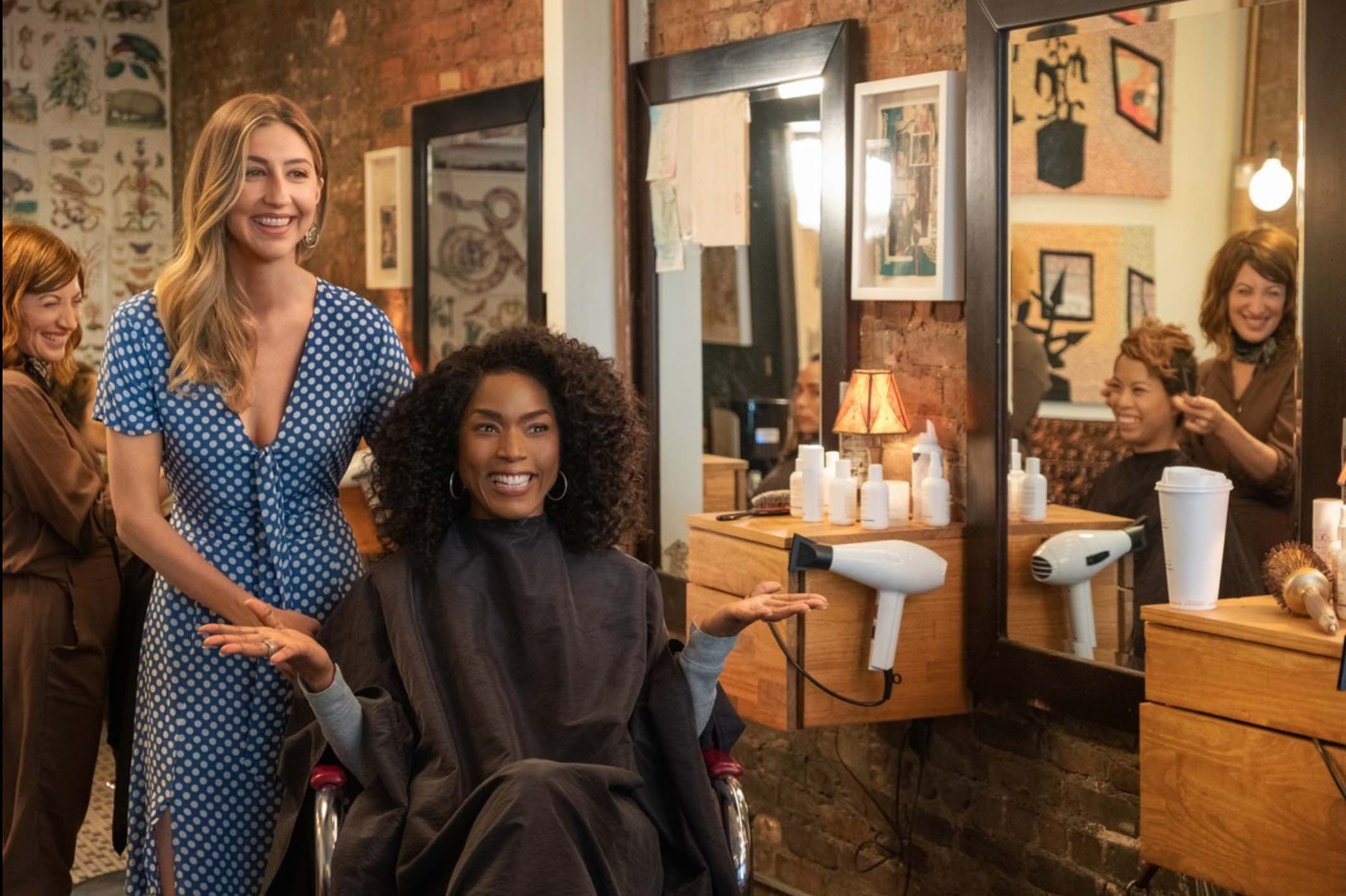 Pictured above: Fringe hair salon owner Amy Schiappa, Margarita Allen, Heidi Gardner, and Angela Bassett in  Otherhood