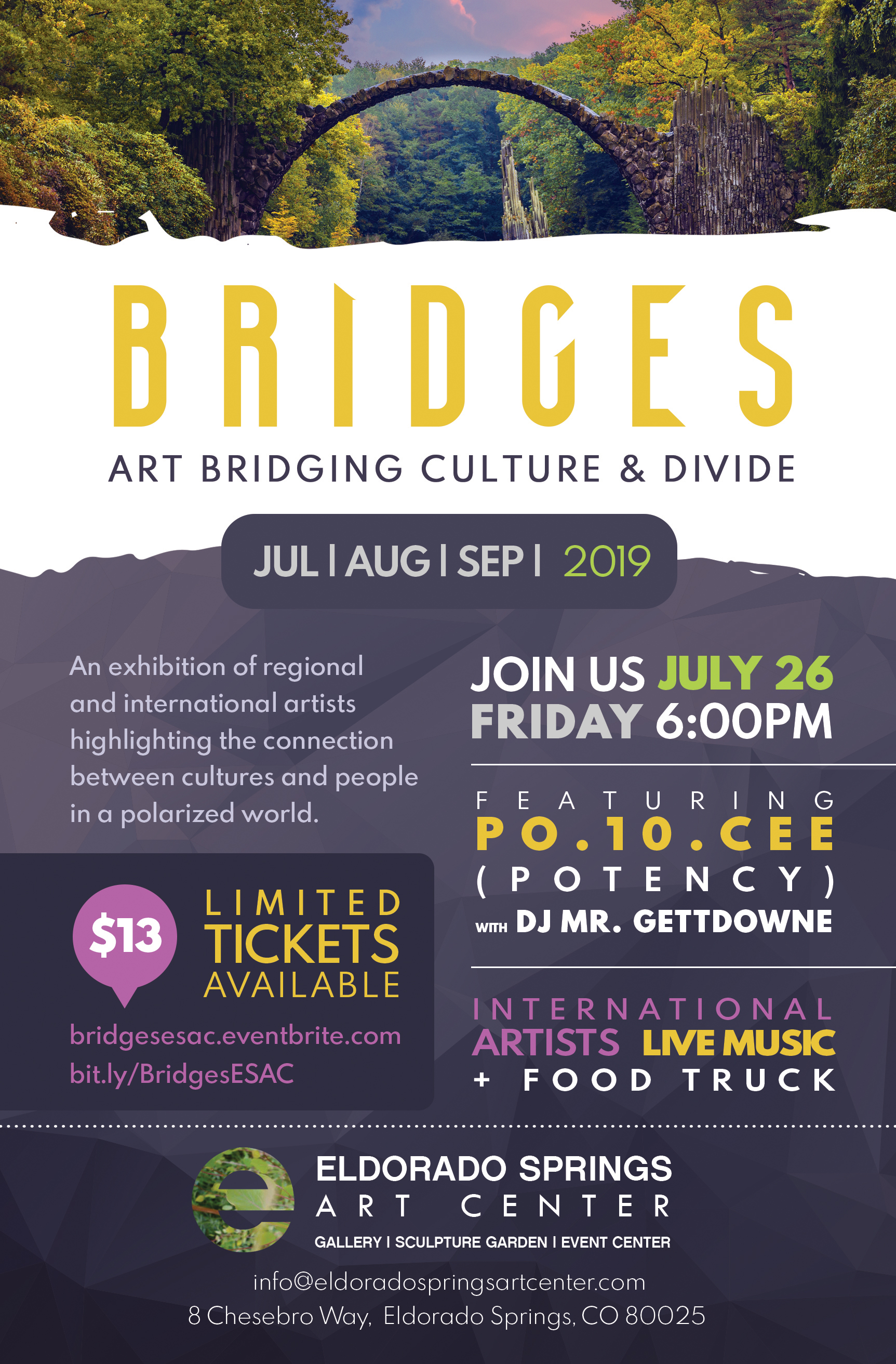 An exhibition of regional and international artists highlighting the connection between cultures and people in a polarized world. - Live Music from Po.10.Cee (Potency) and Dj Mr. Gettdowne , Magical Location, Cultural Expansion, Food Truck and Drinks