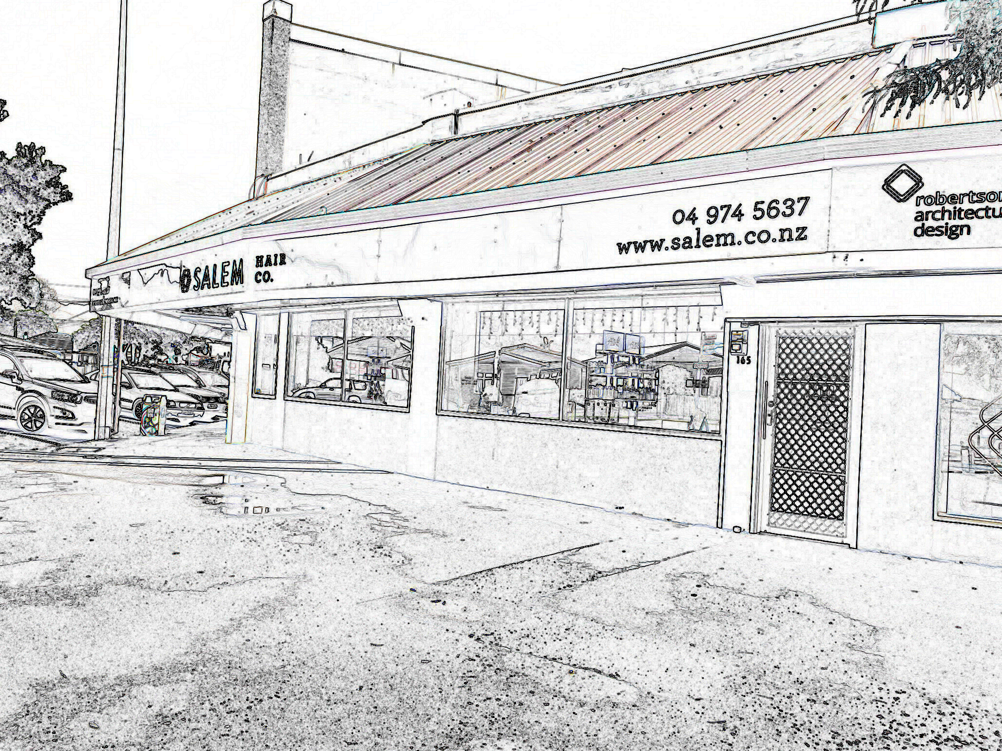 outside of the shop Salem Hair Co. 165 Randwick Road Moera turned into a line drawing