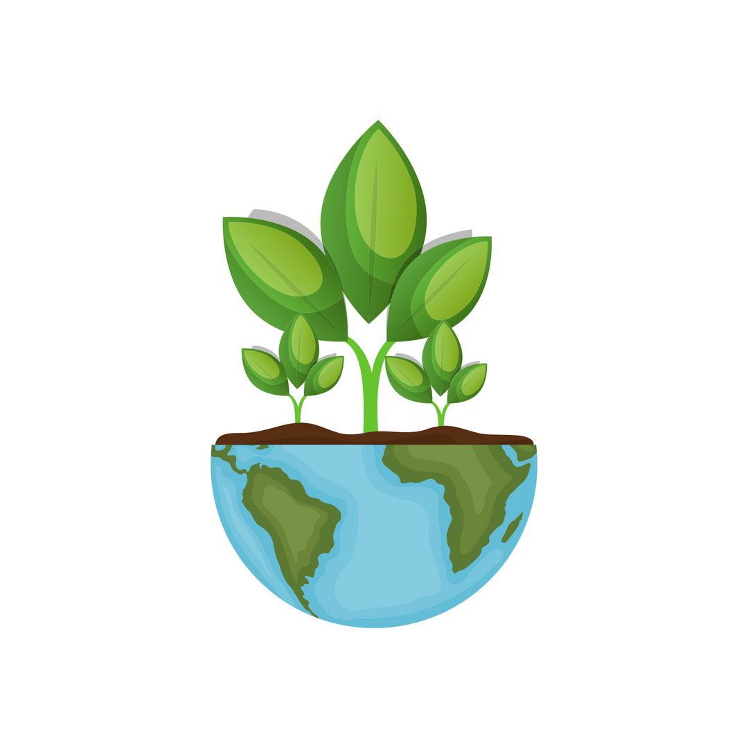 plant growing out of a half globe - bright green and blue with brown for dirt - sustainable hair salon lower hutt