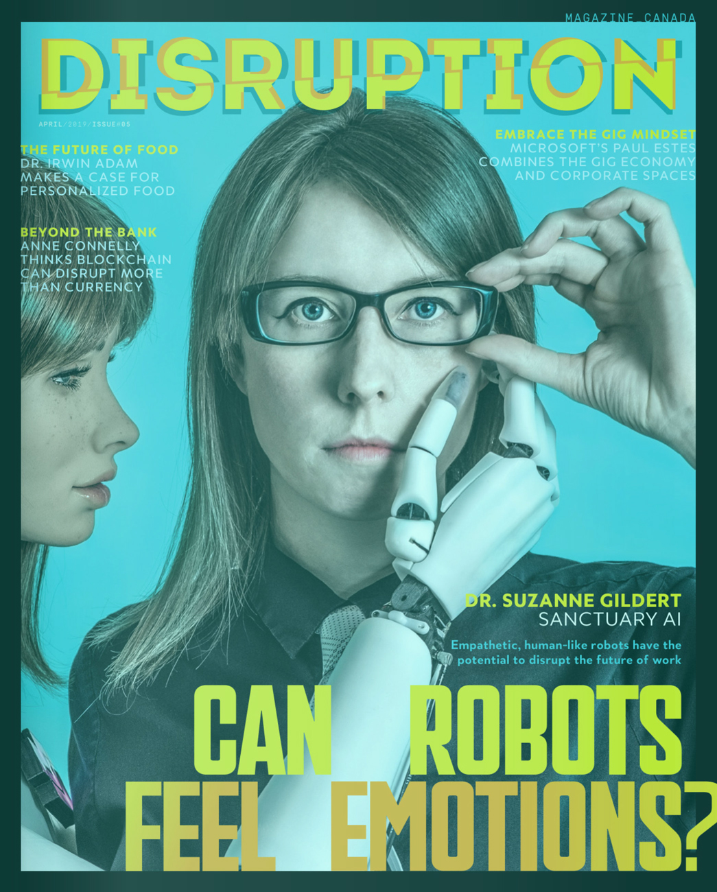 Disruption Magazine: Can Robots Feel Emotions? - Empathetic, human-like robots have the potential to disrupt the future of work. An interview with Sanctuary founder Dr. Suzanne Gildert.Disruption Magazine. 2019.