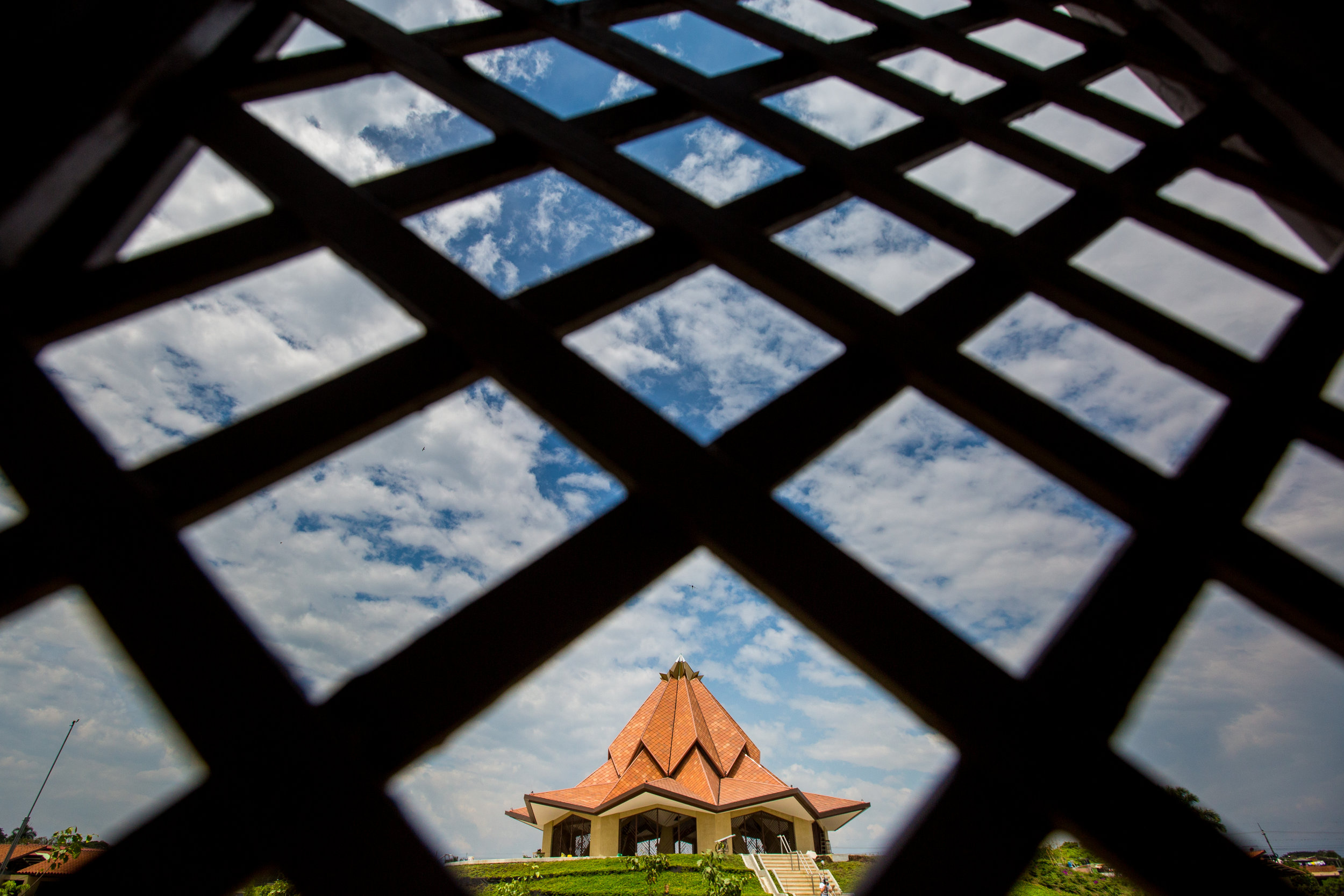 This view shows the Colombia Temple from an ancillary building.