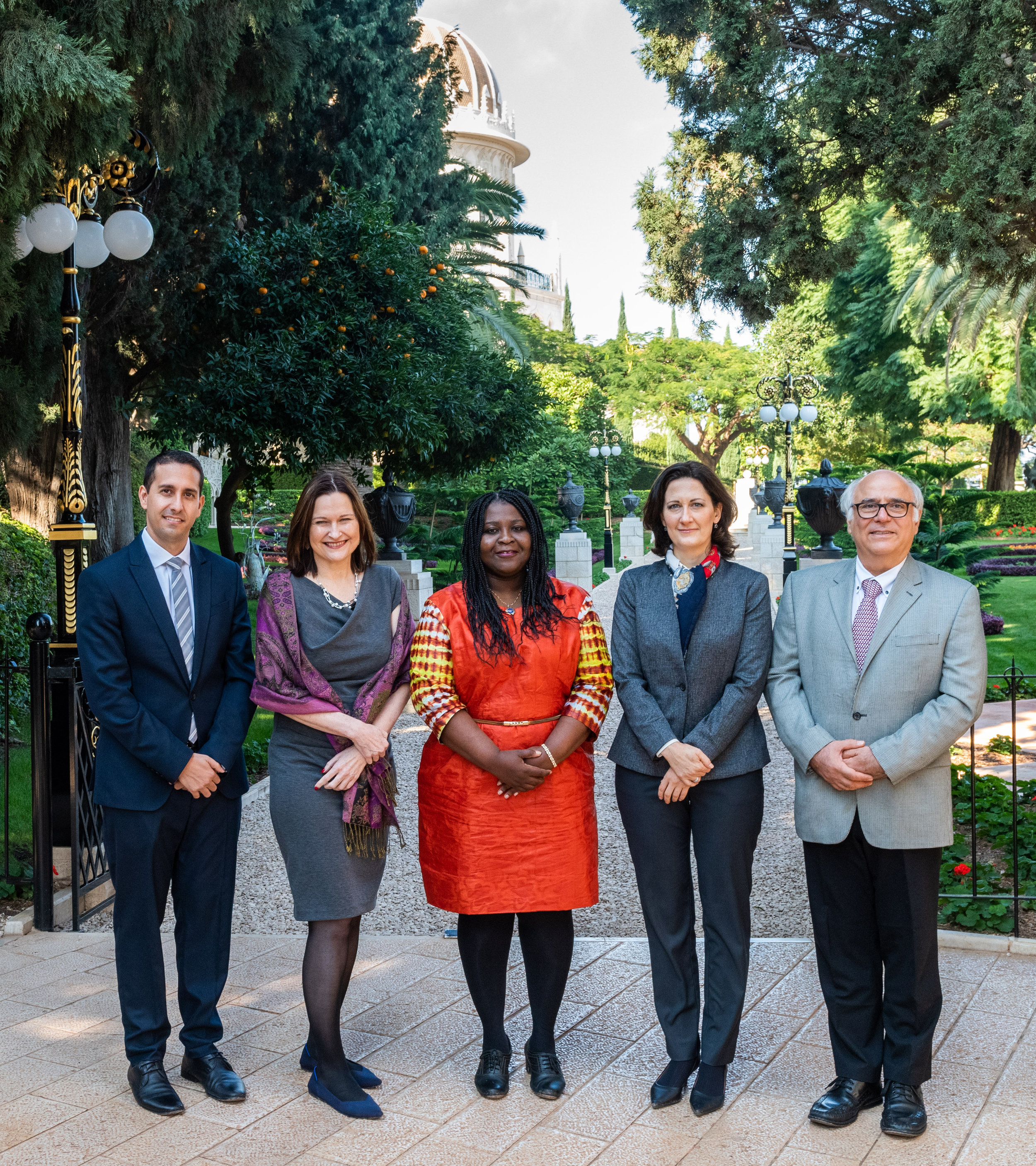 Source of photo:  Bahá'í World News Service  (copyright © Bahá'í International Community). The members of the board of directors of the Baha'i International Development Organization were appointed for a five-year term beginning in November. The directors are (from left) Sina Rahmanian, Lori McLaughlin Noguchi, Maame Brodwemaba Nketsiah, Elisa Caney, and George Soraya.