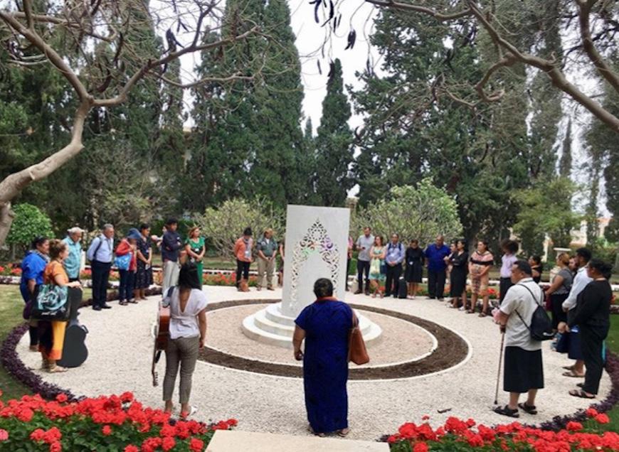 The pilgrims said prayers at the monument marking  Amatu'l-Bahá Rúhíyyih Khánum 's resting place.