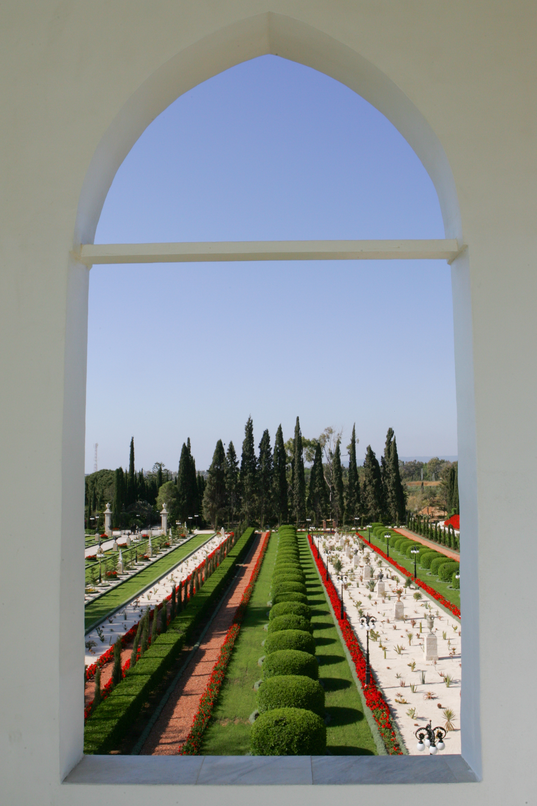 View of the gardens from the balcony of the Mansion of Bahjí