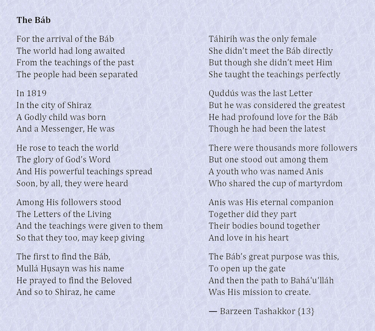The Báb poem