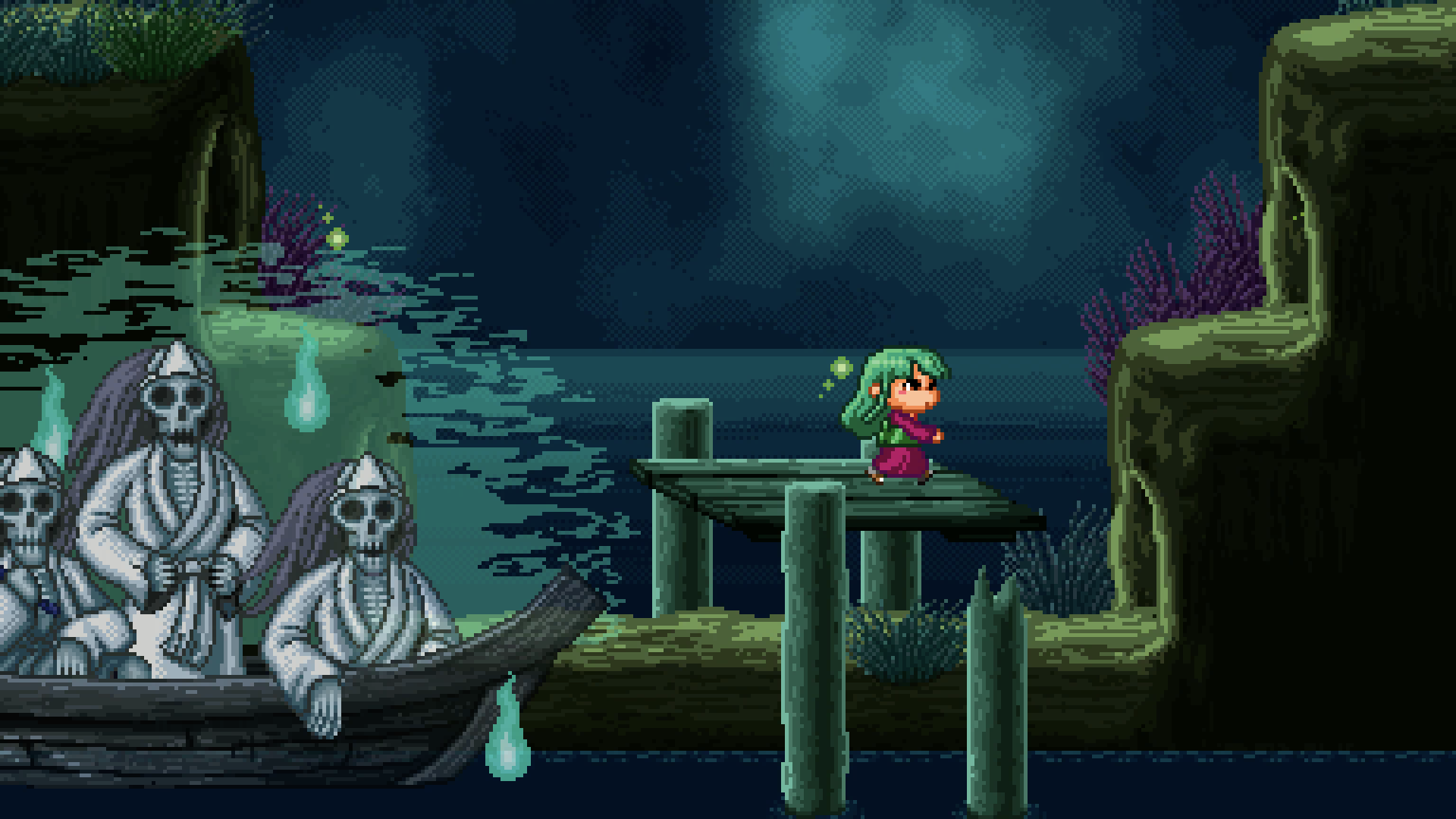 16-bit meets Studio Ghibli art style. Encounter all sorts of ghosts and demons drawn from Japanese mythology. -