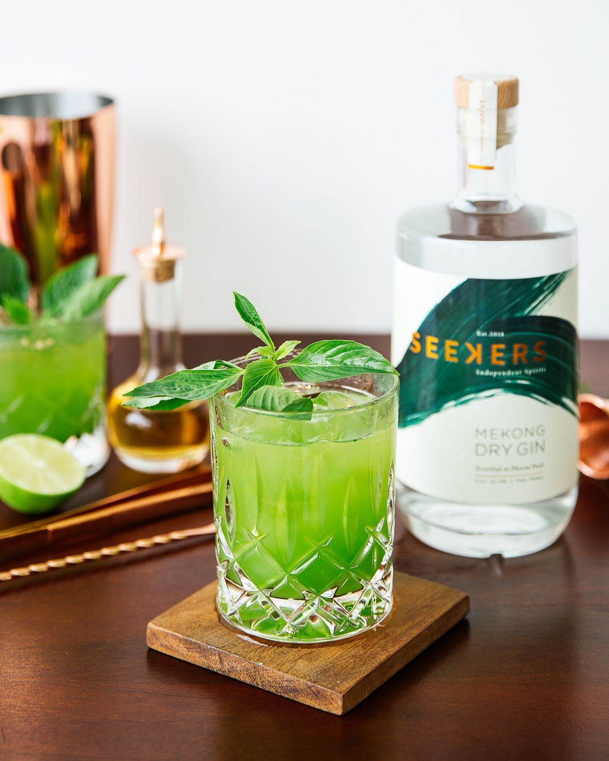 Basil Smash - Bright and zesty. Packed full of vibrant fresh local herbs.50ml Seekers Mekong Dry Gin25ml Lime Juice25ml Sugar SyrupHandful Khmer BasilMuddle the Khmer Basil in a cocktail shaker with Seekers Mekong Dry Gin. Add the lime juice and sugar syrup. Shake and fine strain over a rocks glass. Add ice and garnish with fresh basil leaves.