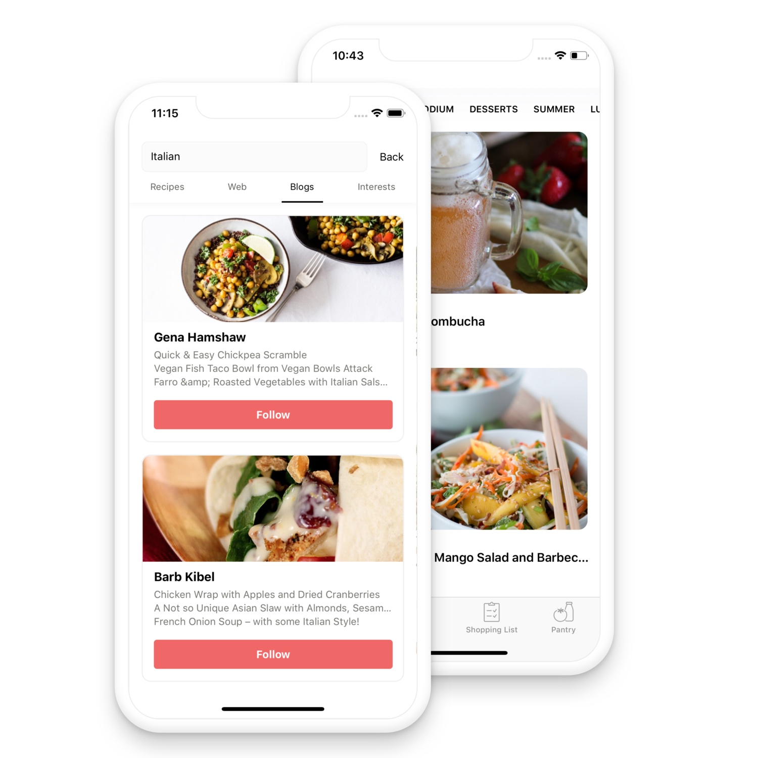 Follow food blogs and your interests - Chefling lets your follow your favorite food blogs and generates a feed of recipes that match your interests.