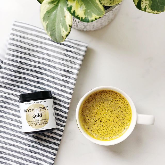 "Morning coffee ☕️ ⠀⠀⠀⠀⠀⠀⠀⠀⠀ Anyone drink their coffee bulletproof style? ⠀⠀⠀⠀⠀⠀⠀⠀⠀ This @royalghee is packed with benefits from raw honey and adaptogenic herbs! Turmeric gives it that beautiful golden color! Perfect for whipping up a latte or spreading onto your favorite foods for an extra nutritional boost! ✨ ⠀⠀⠀⠀⠀⠀⠀⠀⠀ Adaptogenic herbs or ""adaptogens"" are a group of herbs that have been used for centuries to help the body cope with stress. They have been known for their ability to boost strength and vitality, combat fatigue, and normalize the functions of the body! Pretty amazing! 💫"