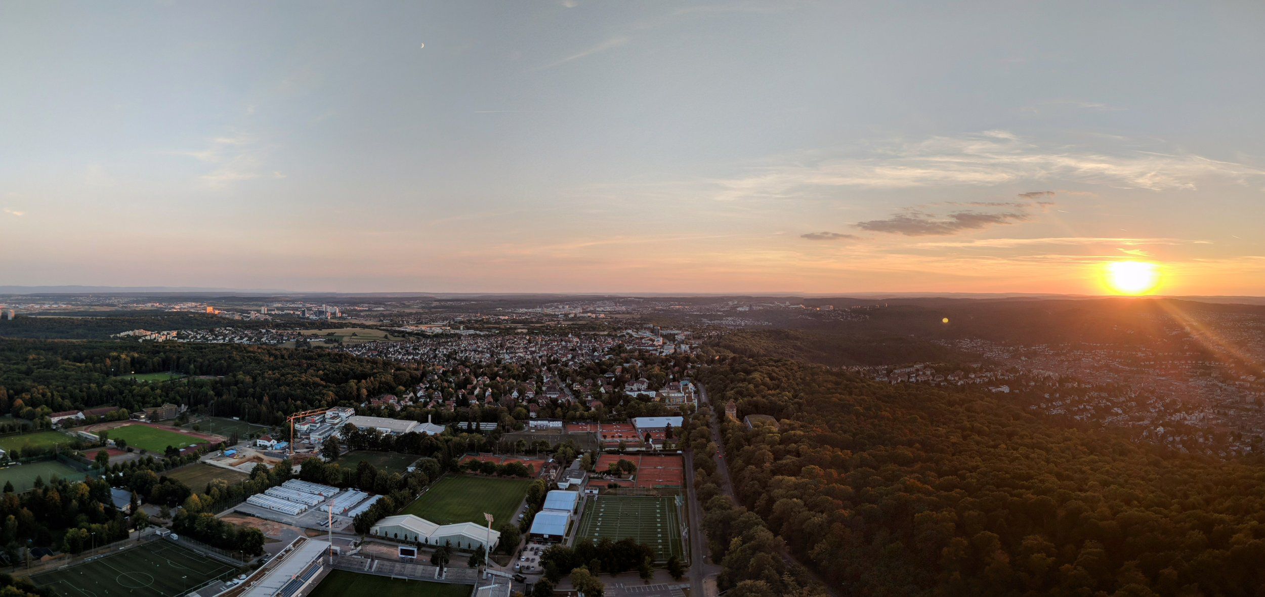 Stuttgart, Germany - As seen from the top of the Fernsehturm (TV tower) at sunset