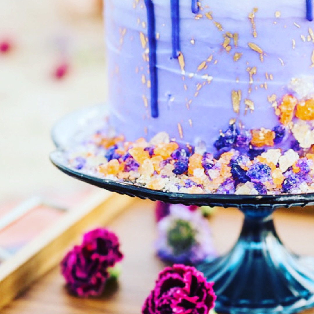 Purple Drip Cake, Gold Splatter