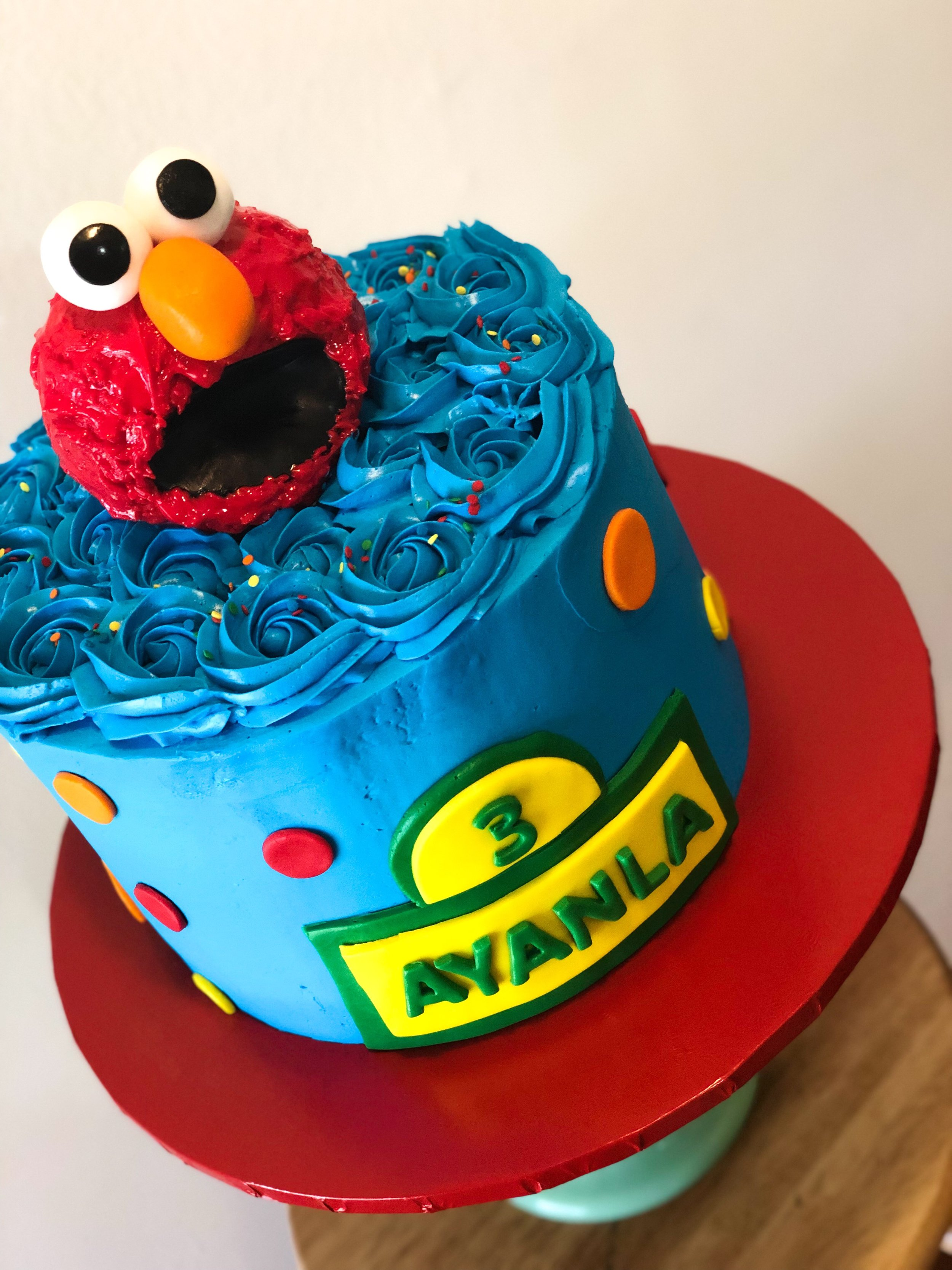 Blue Rosette Elmo Birthday Cake - Mwokaji Cakery.JPEG