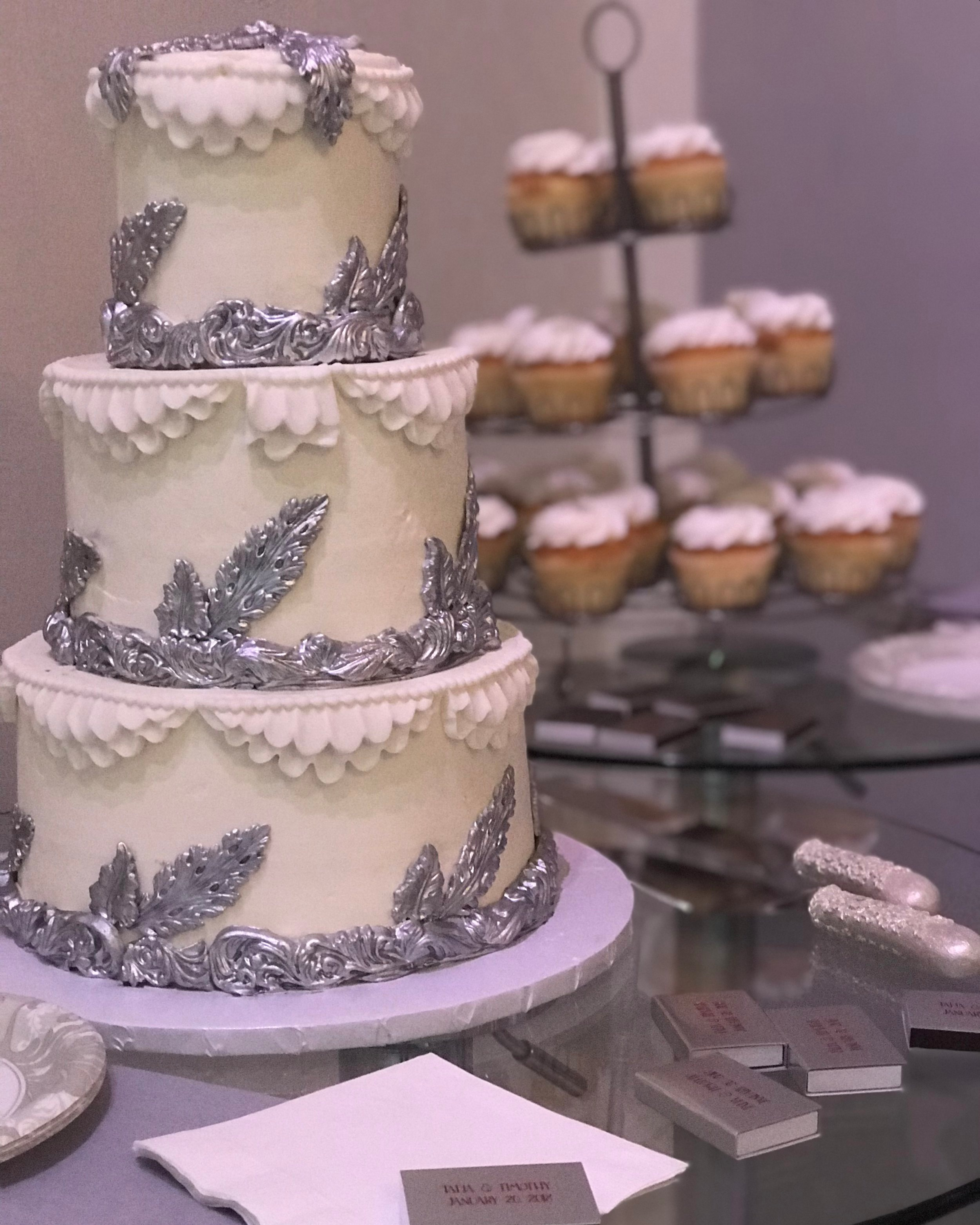 Silver & White Baroque Wedding Cake - Mwokaji Cakery .jpg