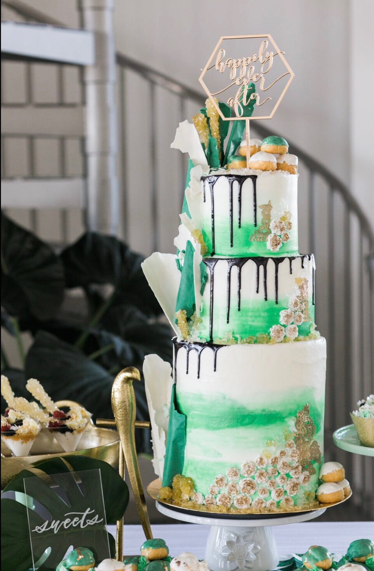 Green and white wedding cake table.JPG