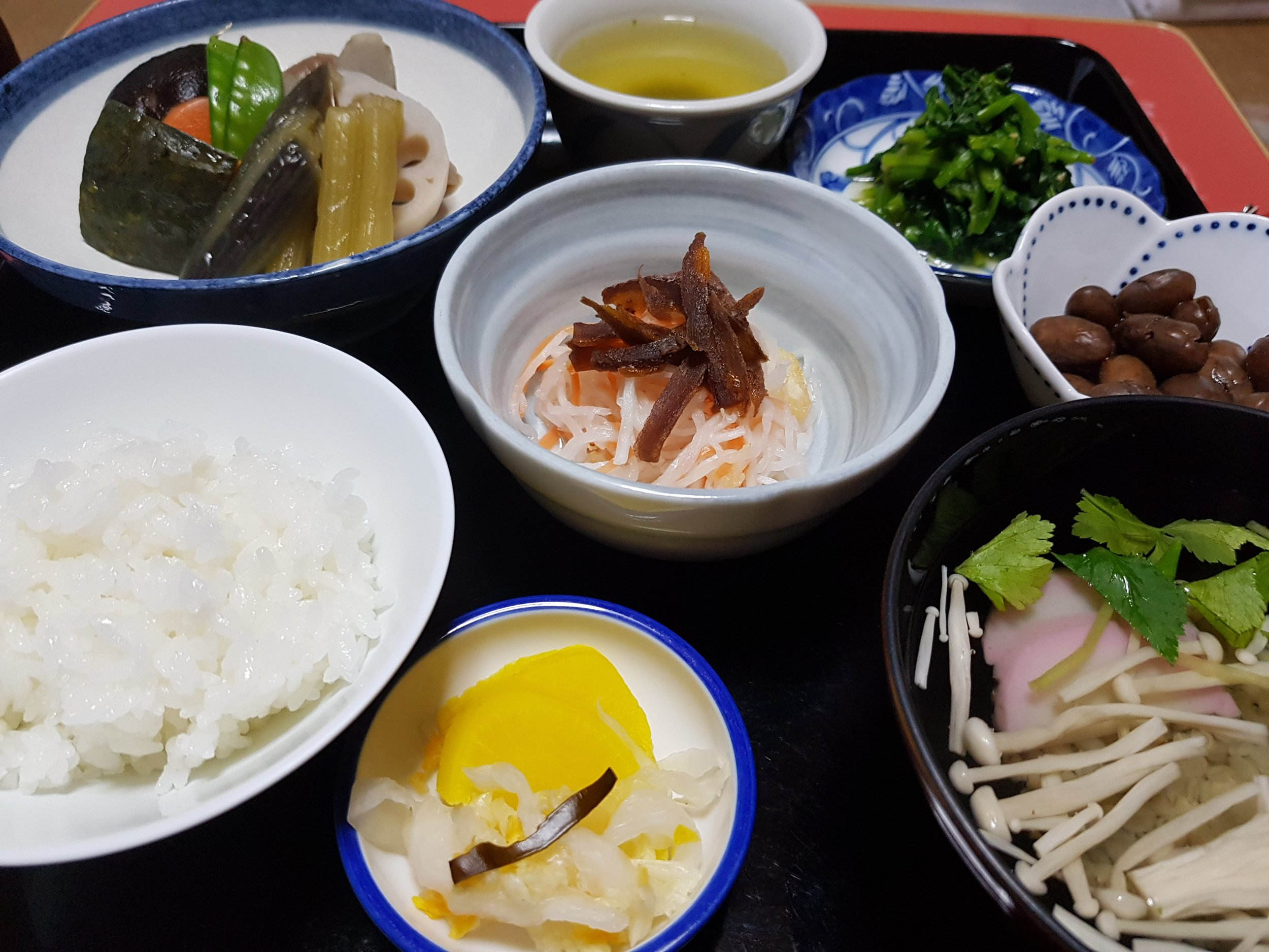 Dinner at shousan-ji (焼山寺). Can you spot the five colours (green, yellow, red, black, and white)?