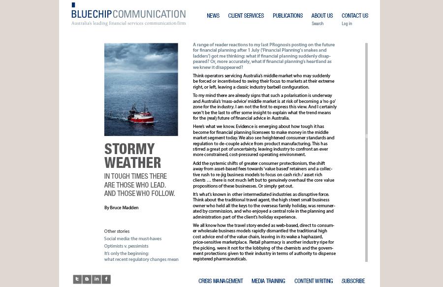 Web design for Bluechip Communication