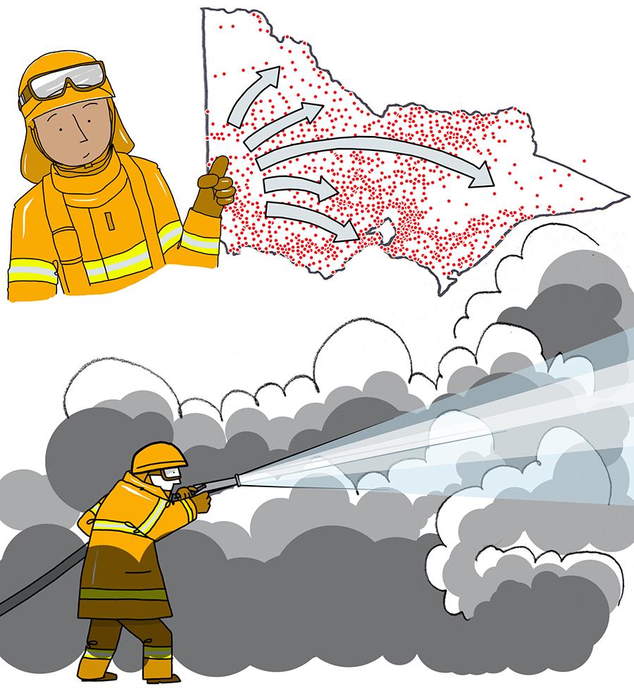 Volunteer fire brigade – whiteboard animation stills