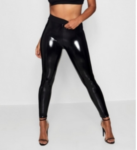 Boohoo - Shiny black vinyl leggings will definitely make it into my closet. These sexy high-waisted leggings will hug my curves in all the right places.