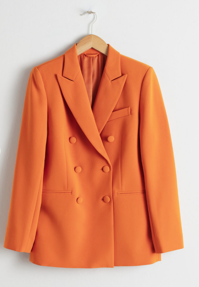 Orange you glad you didn't grab your jean jacket… - Add a statement blazer to your wardrobe. All eyes on you with a pop of color… goodbye winters gloom its time for you to bloom.