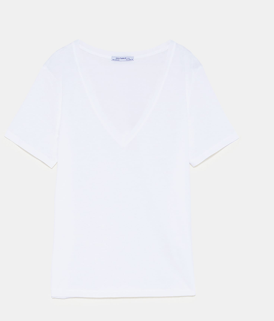 - The essential white T-shirt is a year-round must-have. Also, the perfect piece to not clash with your pop of color.