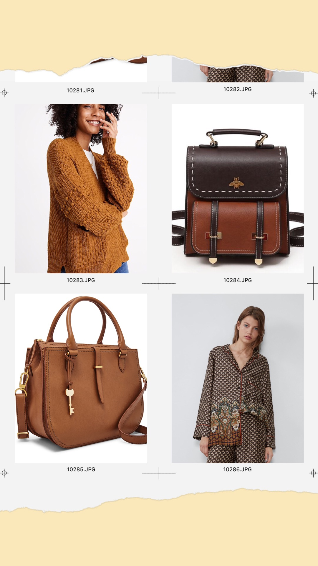 - MADEWELL:Bobble Cardigan Sweater $98.00Travel Starter Pack:Bumblebee Leather Backpack $41.00Fossil:RYDER SATCHELZara:PRINTED SHIRT WITH PIPING $39.00