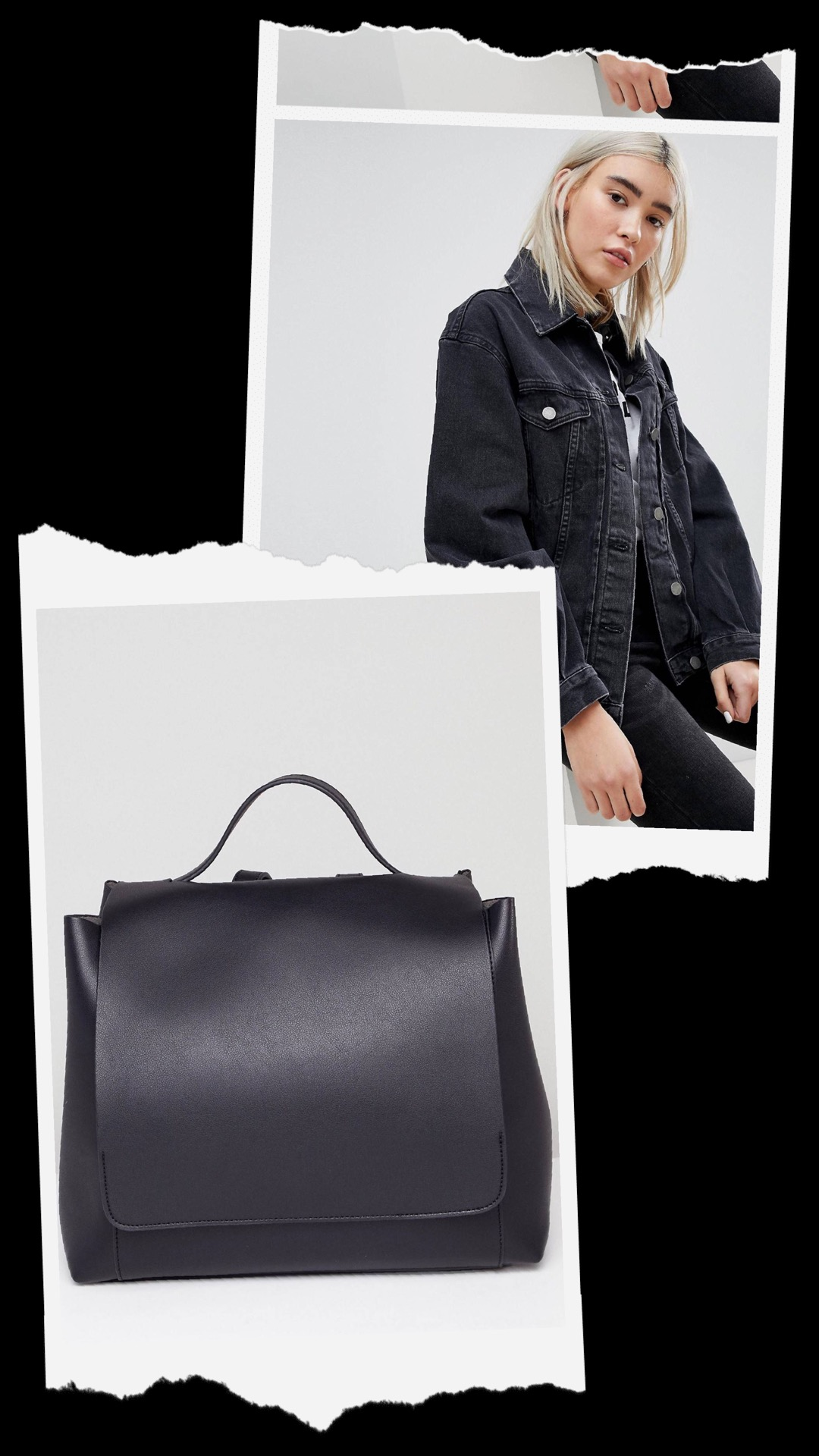 - ASOS:ASOS DESIGN denim girlfriend jacket in washed black $64.00ASOS DESIGN large minimal backpack$30.00