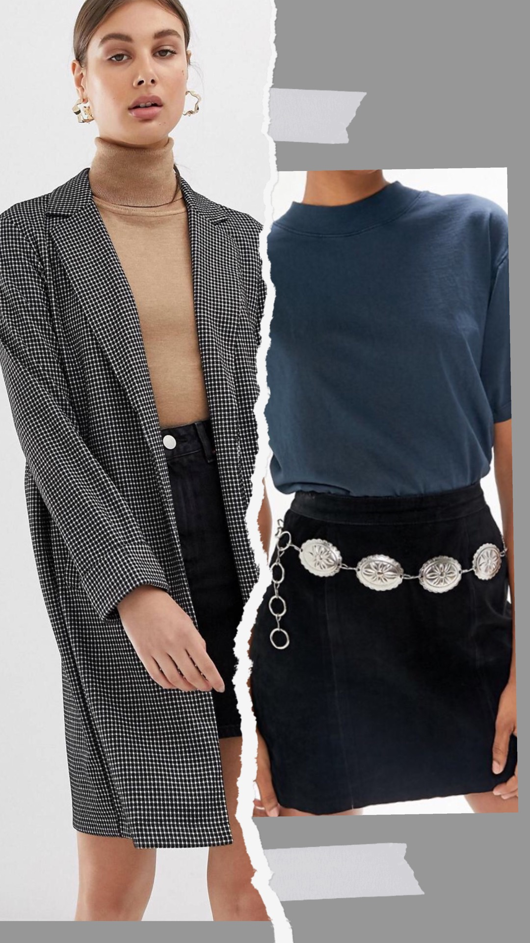 - ASOS:Pieces check lightweight spring coat$60.00Urban Outfitters:Western Chain Belt$29.00