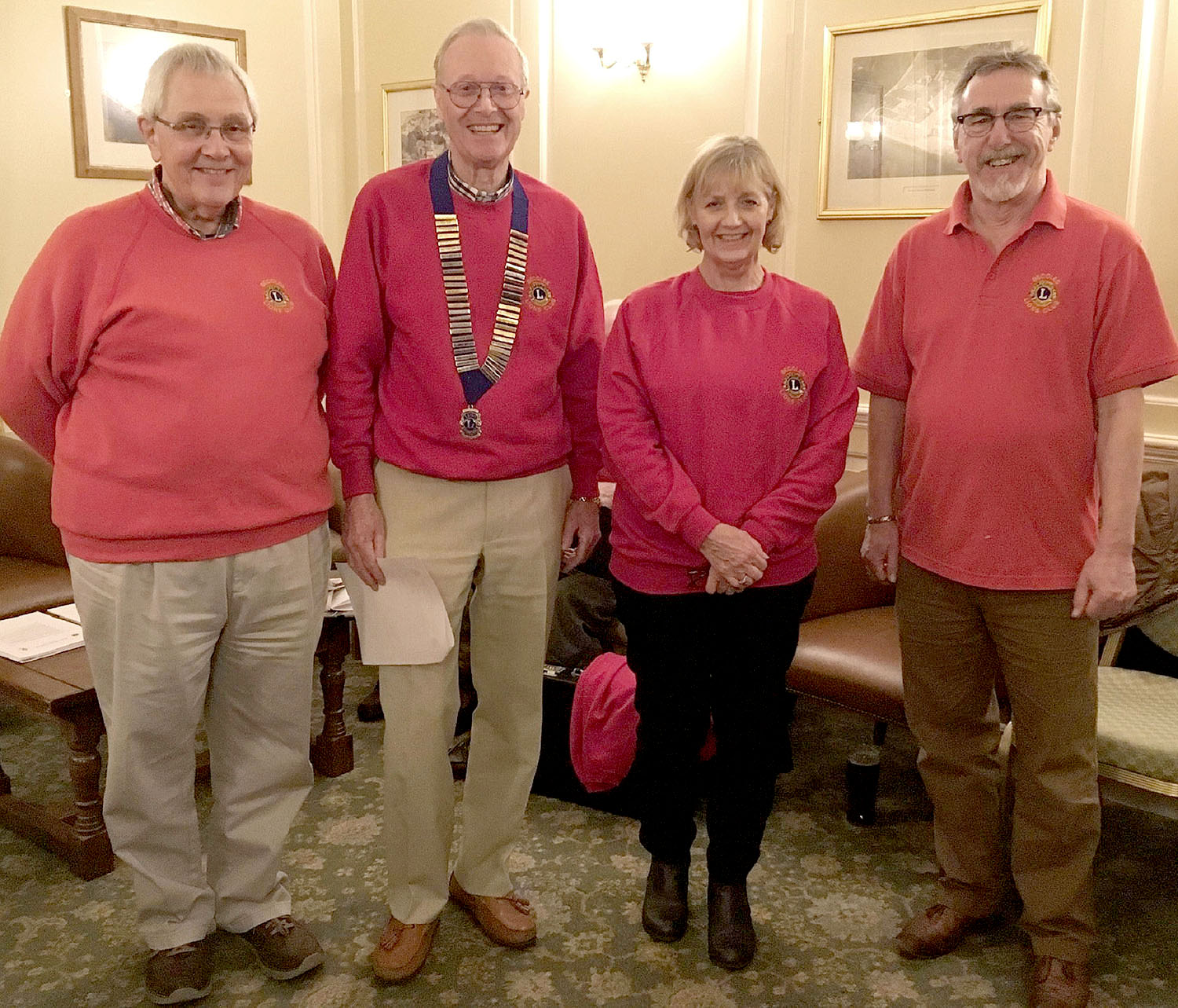 From left to right: New Member seconder - Lion Graham Gooda, Lion President Chris Lambert, New Member - Lion Sharon Page and Membership Chair and New Member Sponsor Lion - Keith Moore.