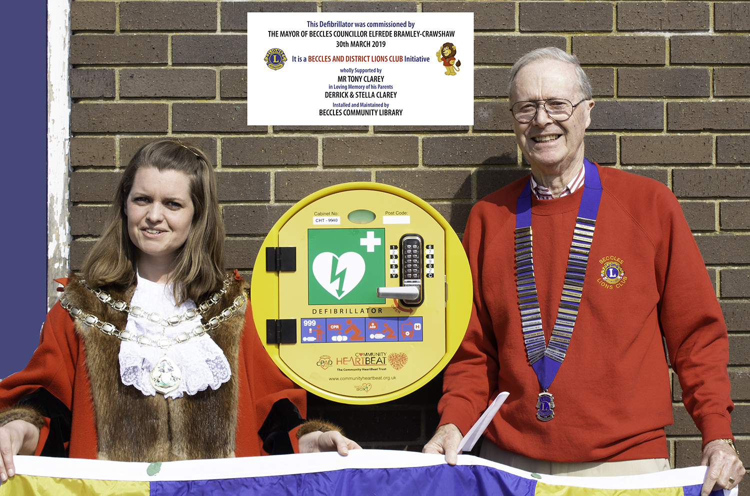 Beccles Mayor Councillor Elfrede Brambley-Crawshaw with Lion President Chris Lambert