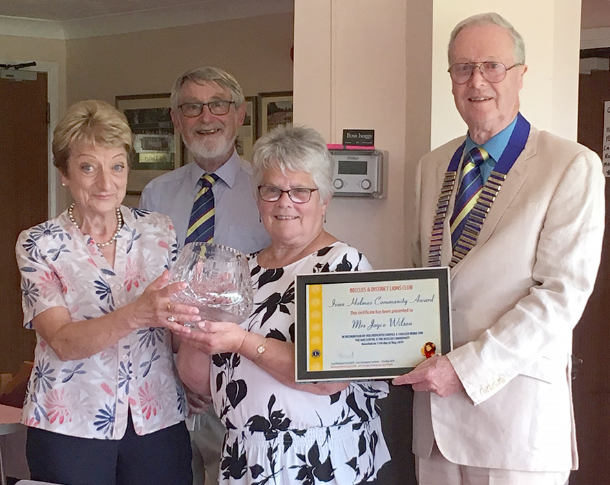 From Left to Right – Mandy Holmes, Beccles Lions Welfare Officer Dermot Wesley-Smith, Joyce Wilson 2019 Ivan Holmes Community Award recipient, Club President Lion Chris Lambert.