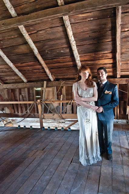A posed portrait in the hay loft.