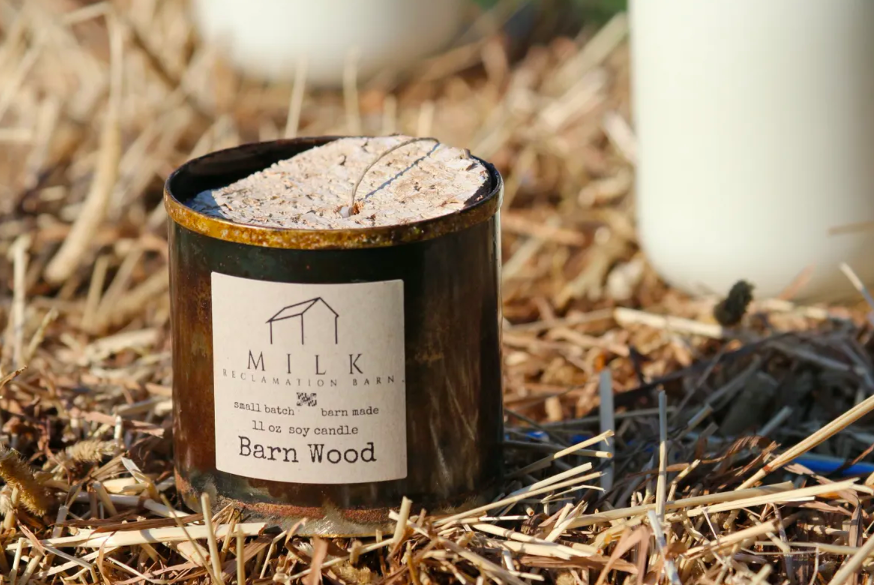 A bit sexy and masculine, we love the metal cup of Milk Barn Reclamation's soy candle.