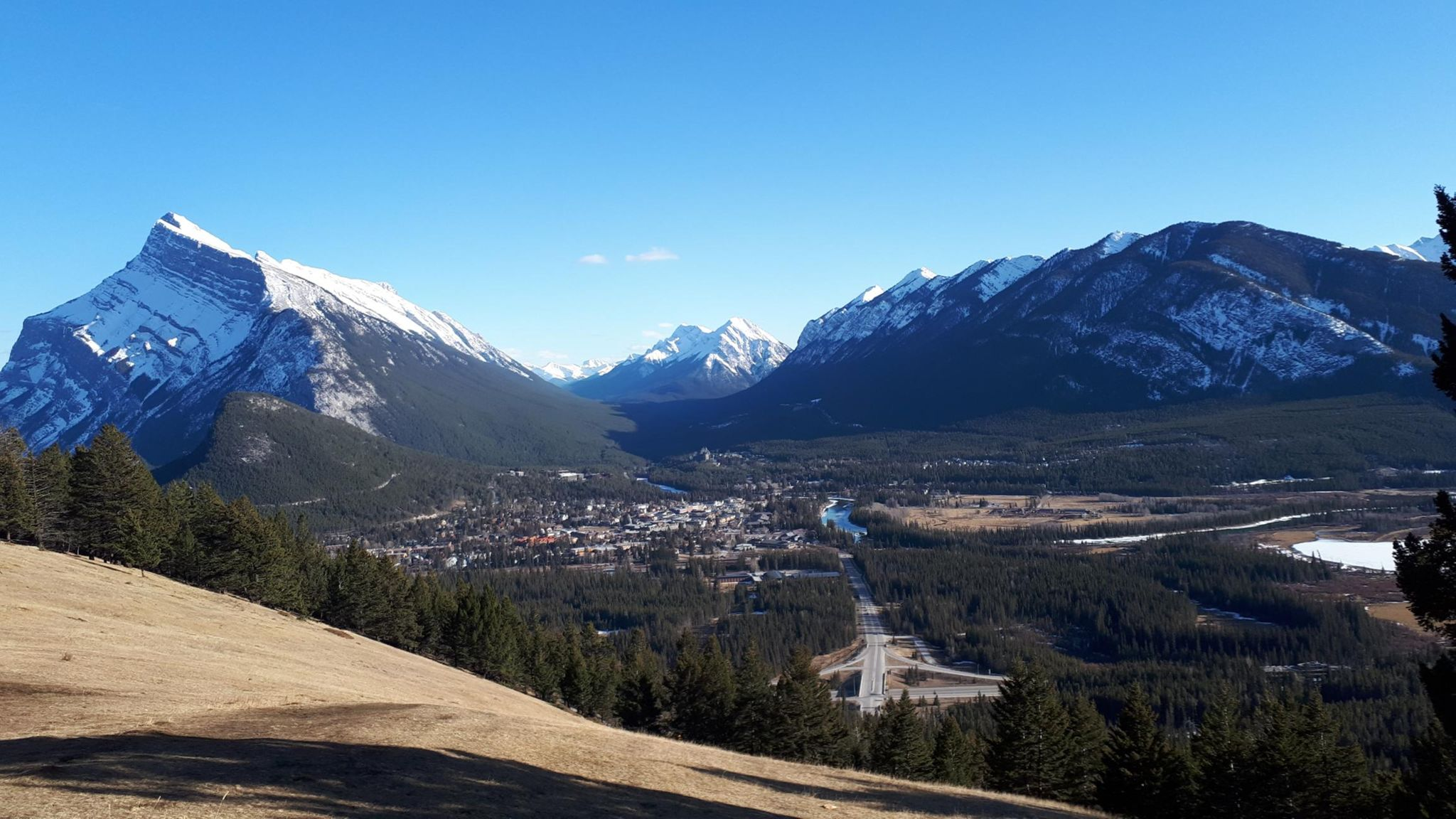 View from the Mount Norquay road, April 2019.