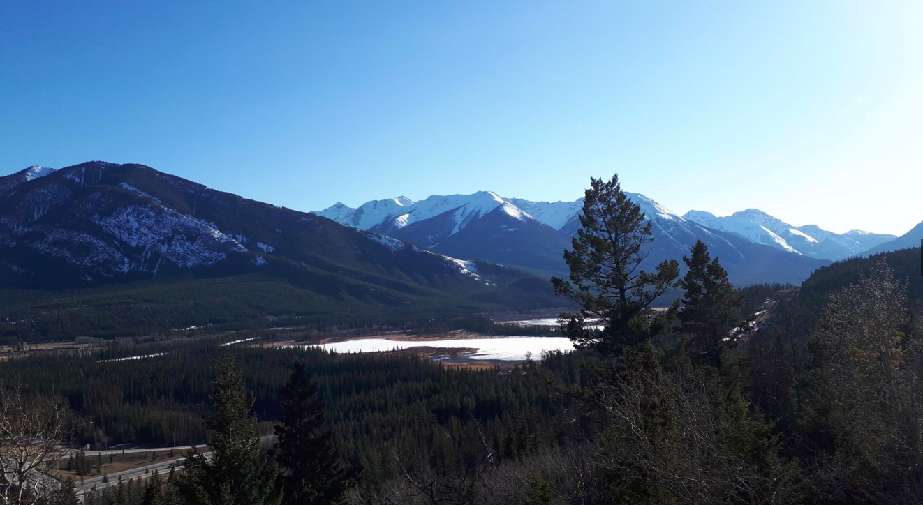 Looking up the Bow Valley past Vermillion Lakes from the Mount Norquay Road, April 2019.