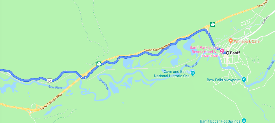 Close up of directions from Banff to Highway 1A past Vermillion Lakes and onto bike path.