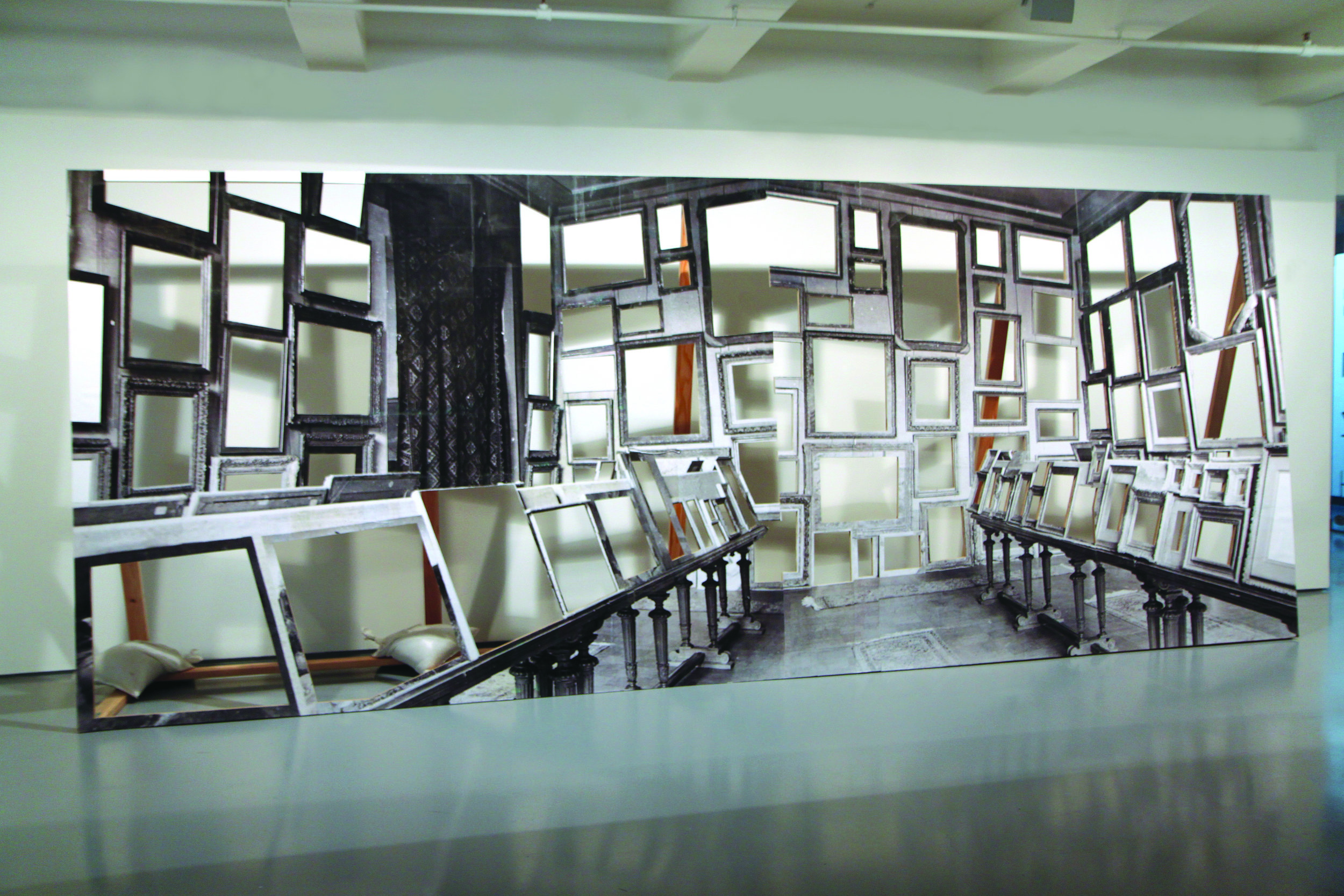 Room of Martyrs (Jeu de Paume), , 2011-2012, photographs on wood with sand bags , 24 feet wide