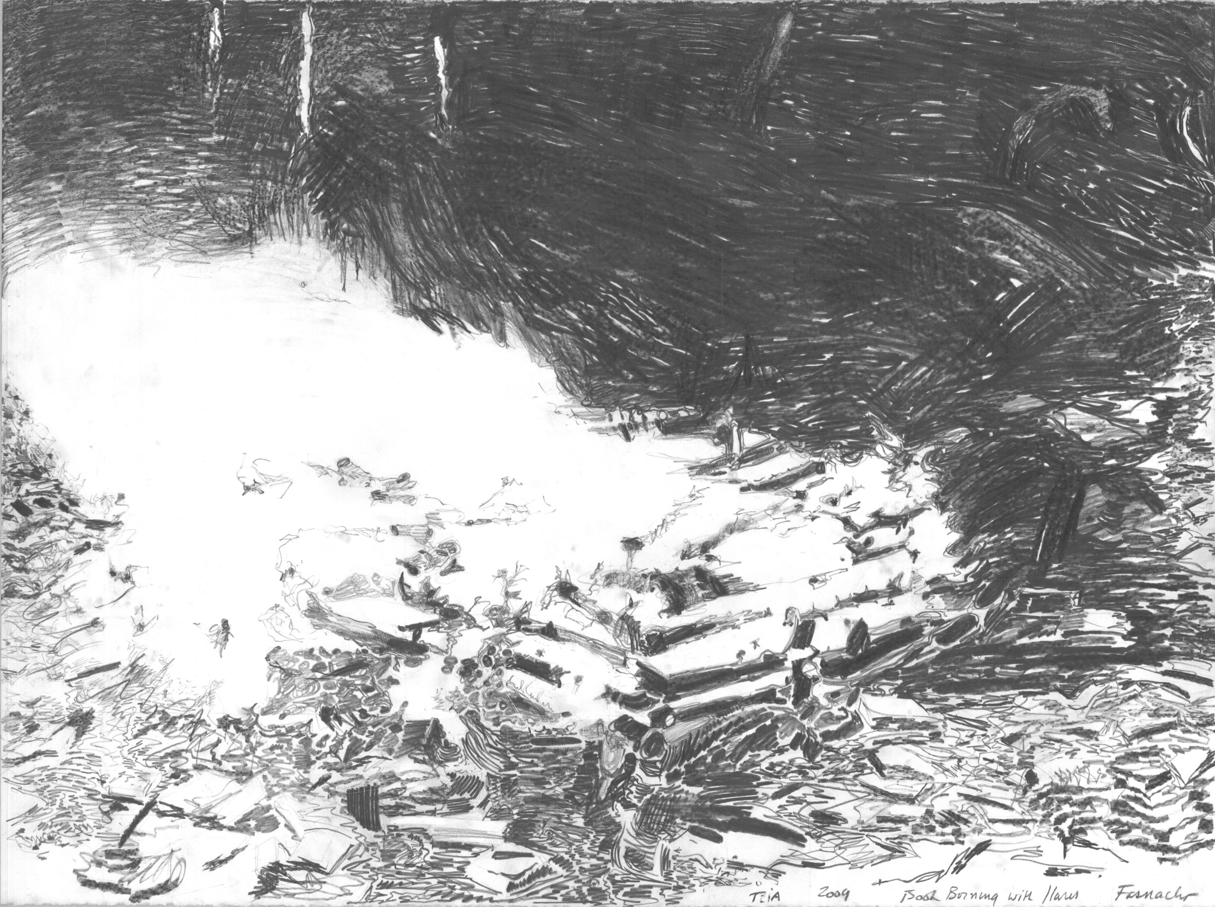 Book Burning I,  2009, Graphite on paper, 22 x 30 inches