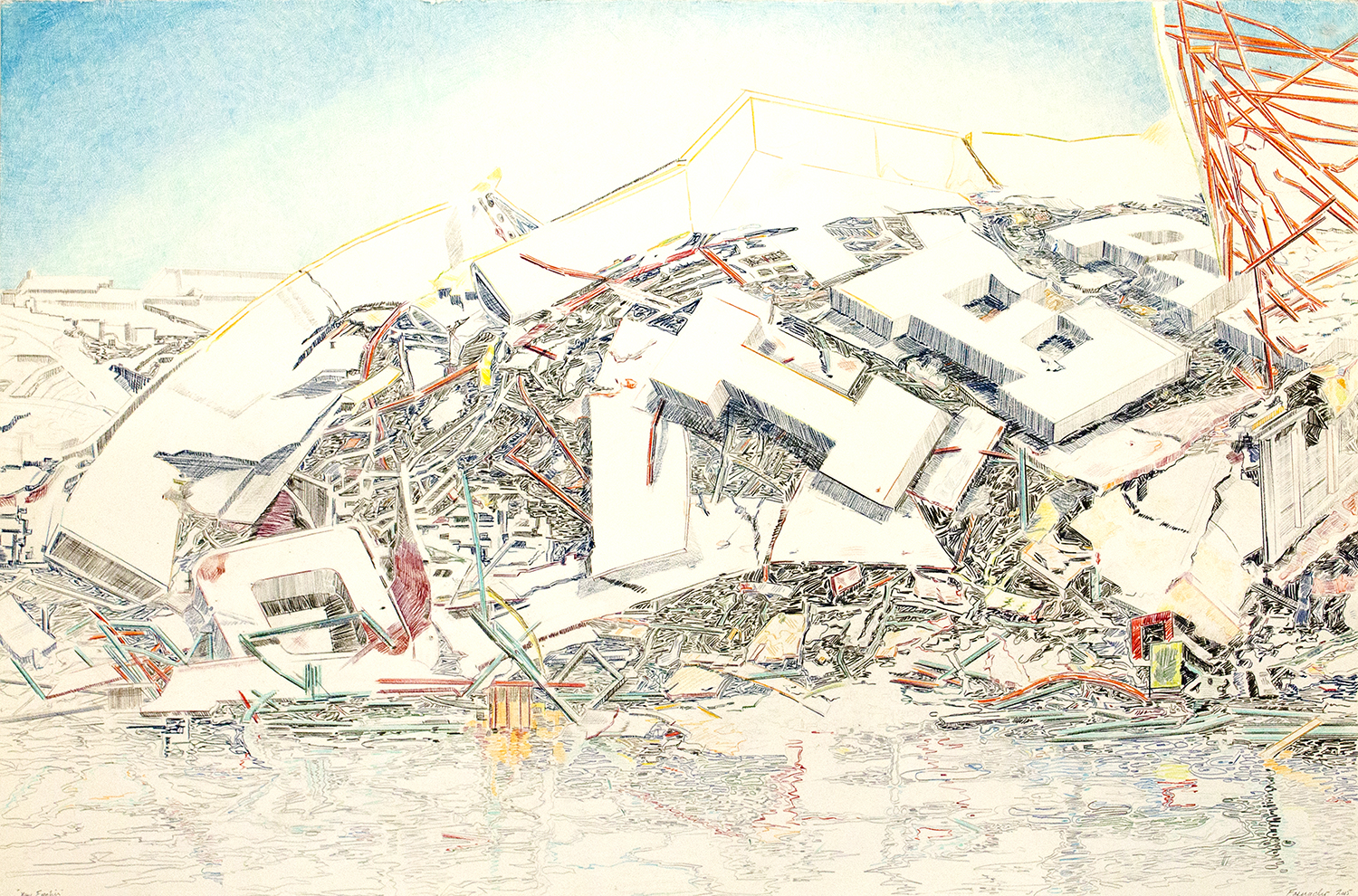 New Frontier, 2015, Colored pencil and graphite on paper, 40 x 60 inches