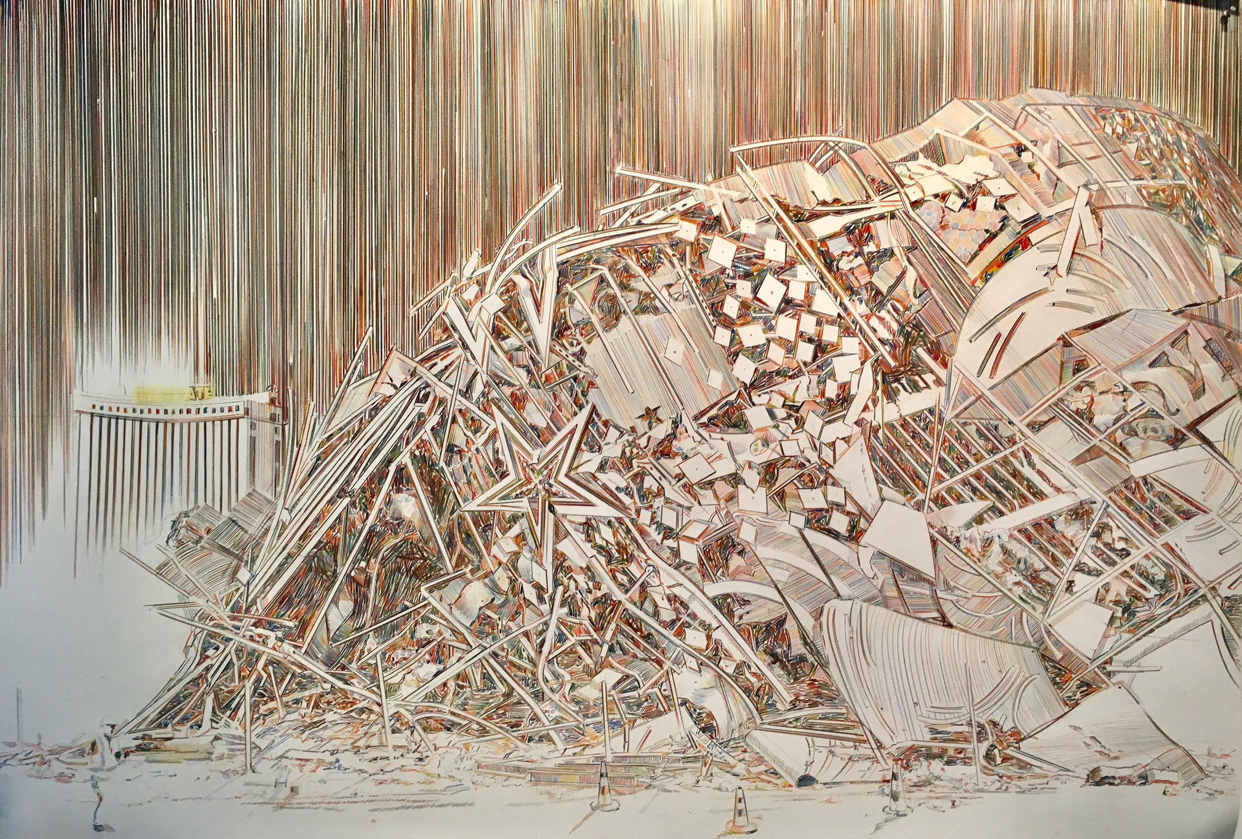 Riviera Rubble, 2017, Colored pencil and graphite on paper, 41 x 60 inches