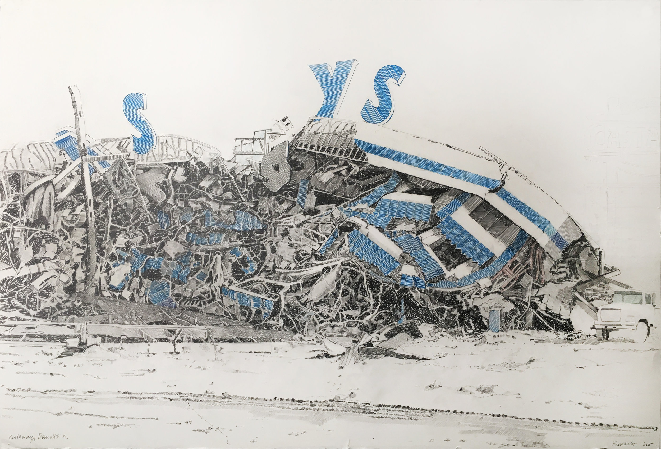 Castaways Demolition, 2015, Colored pencil and graphite on paper, 40 x 60 inches