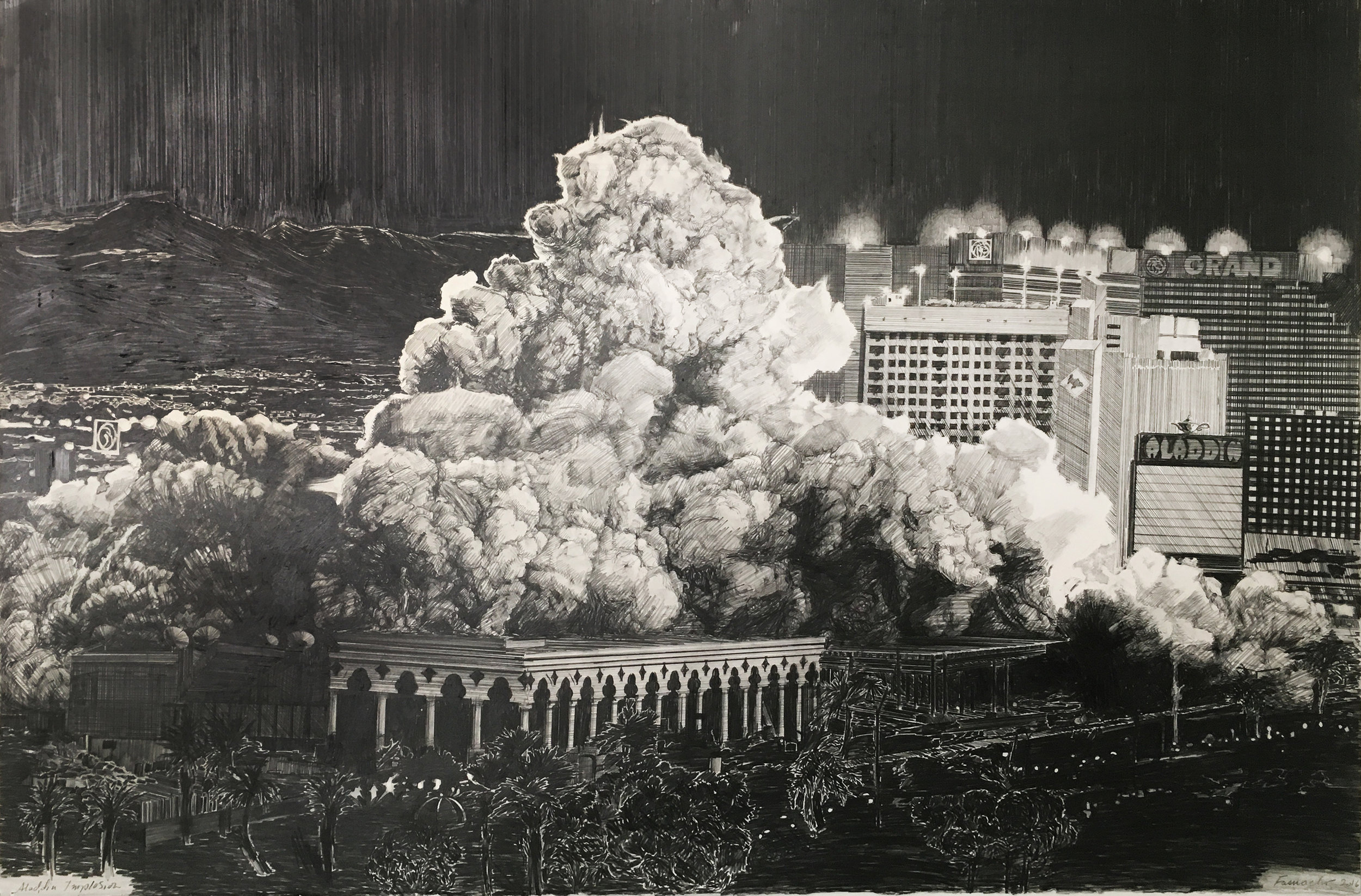 Aladdin Demolition, Las Vegas, 2016, Graphite on paper, 40 x 60 inches