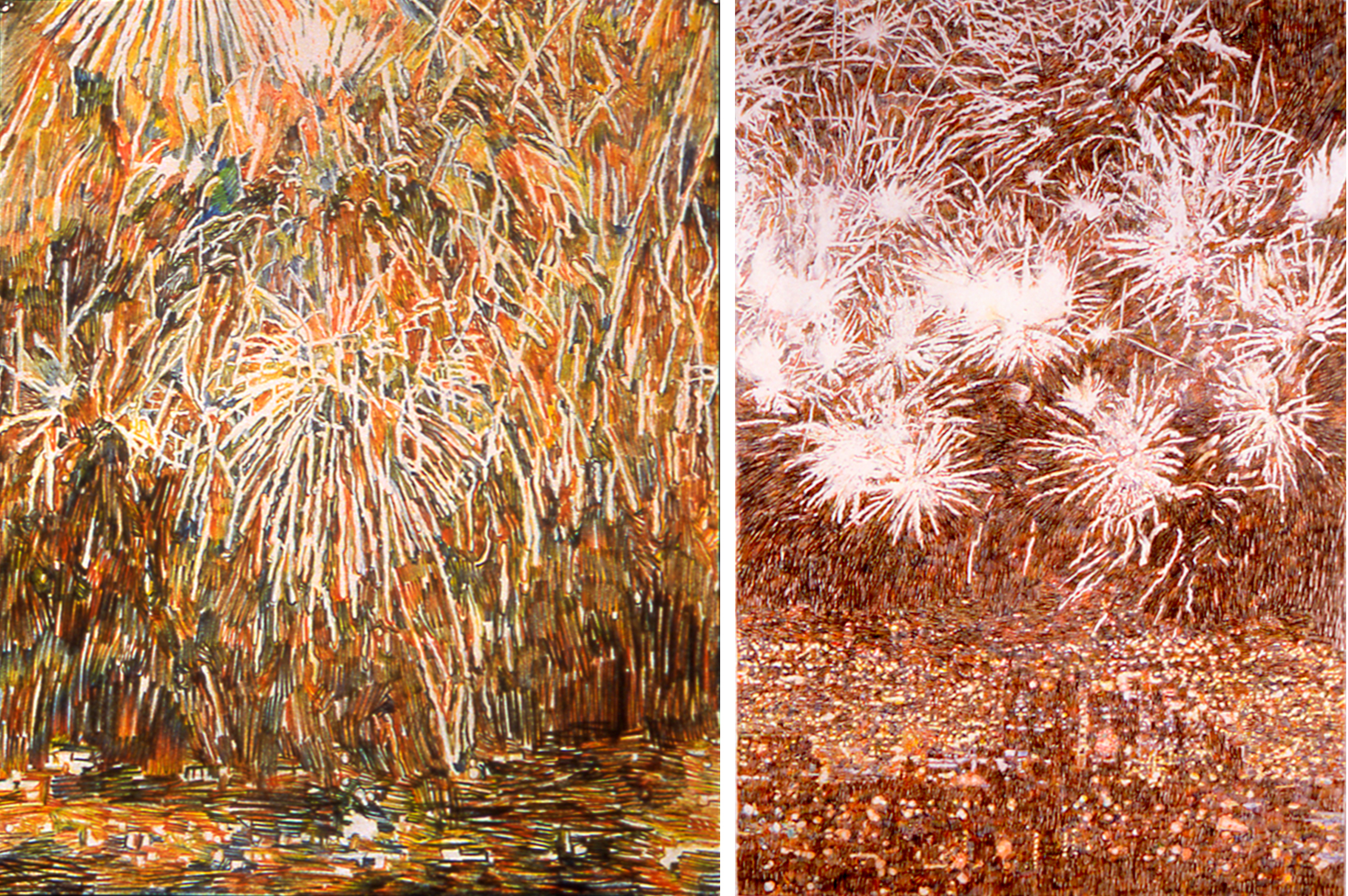 Fireworks 1, Pyrotechnics (Petardes), 2003, Quattro Colored Pencil on Paper, 59 3/4 x 40 7/8 inches, Permanent Collection of the Yale Gallery of Art
