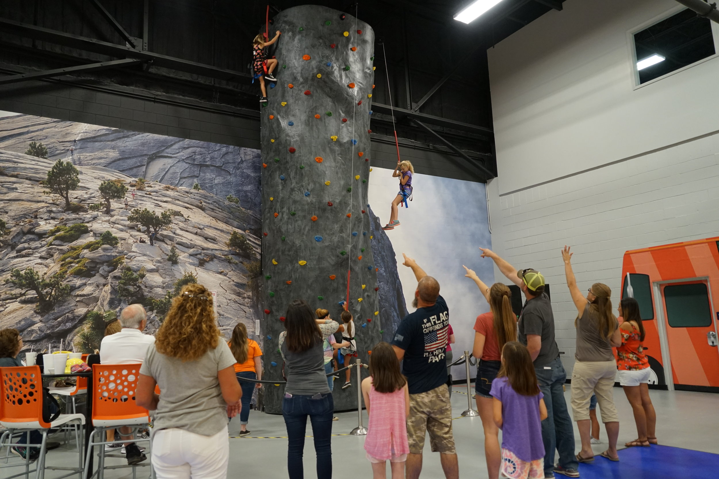 24 Foot Rock Wall - Feeling ambitious? Come try out our rock wall and put your skills to the test.