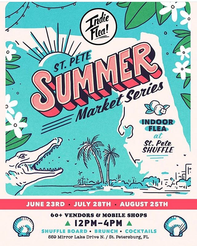 Summer is here and so are we! 🌴🐊🌴Come and visit us today for the @indieflea St Pete Summer Series at @stpeteshuffle from 12-4pm #shoplocal #madeinflorida #candelahotsauce #probiotichotsauce #lactofermented #raw #vegan #allnatural #theburg #hotsauce #florida