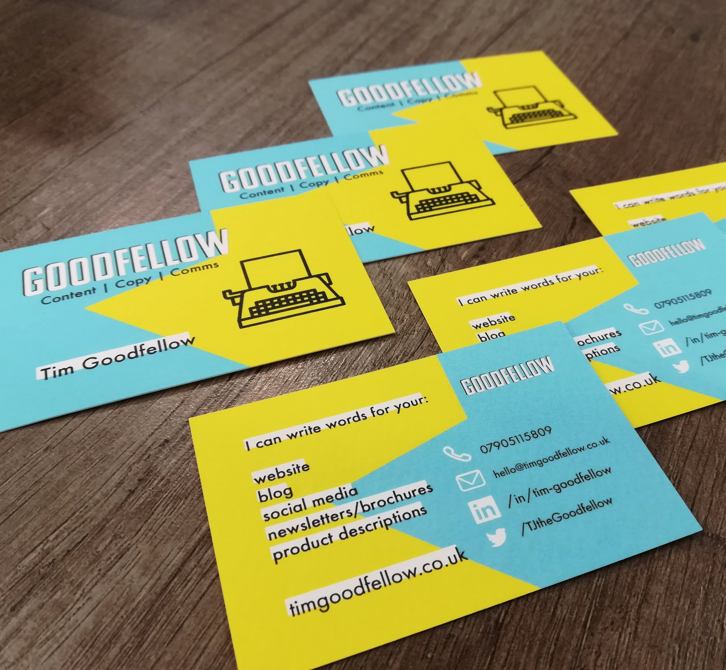 The Goodfellow Content business cards.