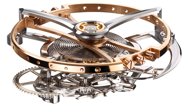 A large dial opening shows off the 16mm tourbillon cage as it rotates once every three minutes.