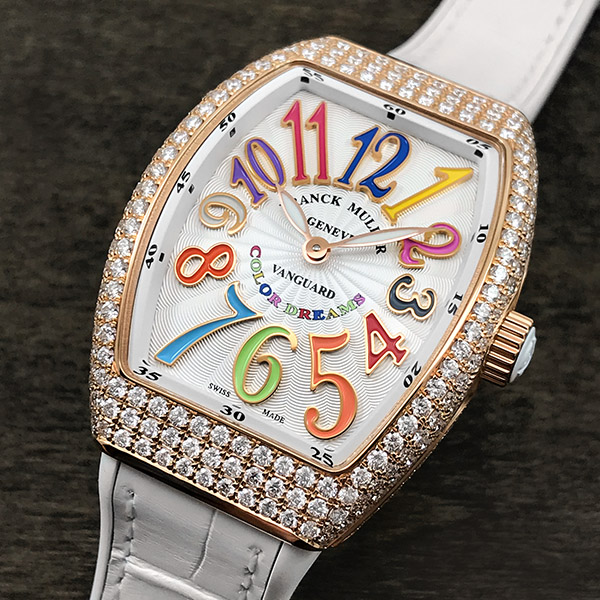Rows of diamonds adorn the rose gold Lady Vanguard Color Dreams.