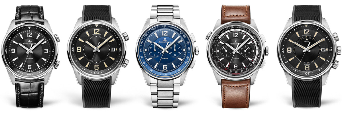 From left: The five models included in the Polaris collection are the Automatic, Date, Chronograph, Chronograph WT and the limited edition Memovox.