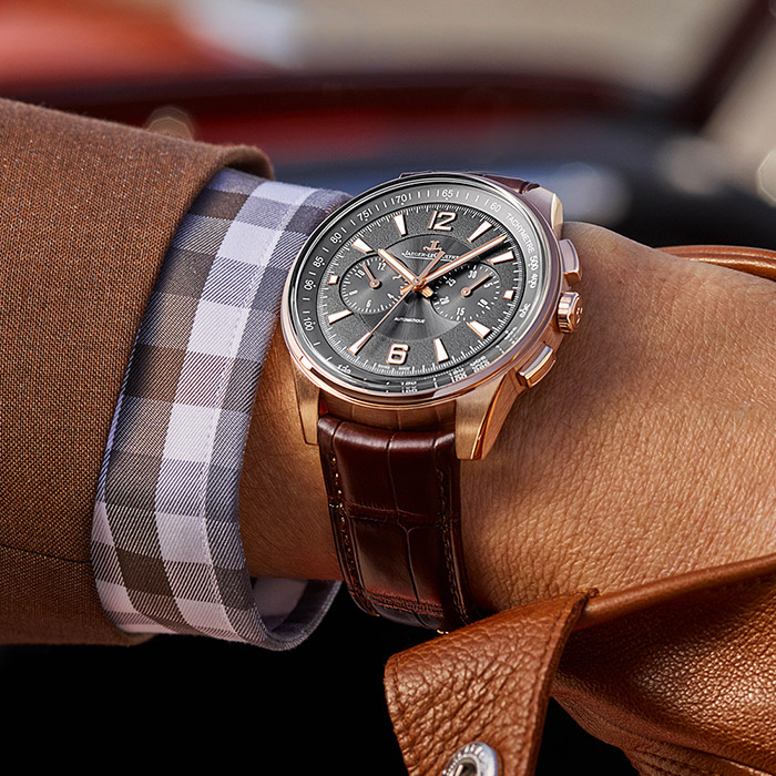 This rose gold Polaris Chronograph is the only model in the new collection available in a precious metal.